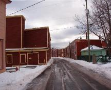 Eastern view of Port Union Municipal Heritage District duplexes, Main Street, Port Union, NL.  Photo taken January, 2006.; HFNL/ Lara Maynard 2006.