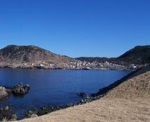 View of Portugal Cove, looking northeast from West Point Cemetery, Portugal Cove, NL.; HFNL/Andrea O'Brien 2009