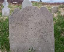 Headstone commemorating members of the Morry family, North Side Burial Ground, Ferryland, NL. Taken 2009.; HFNL/Andrea O'Brien 2009