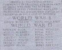 Photo view of the inscription in the War Memorial, Branch, NL, 2008; Andrea O'Brien, HFNL, 2008