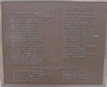 Photo view of bronze plaque on the War Memorial, Branch, NL, 2008; HFNL 2008