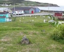 View from the rear of The Old Graveyard looking towards Gut Path and the waterfront, Branch, NL, 2008.; Andrea O'Brien, HFNL, 2008