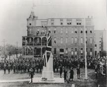 Historic photo of the unveiling of the new Yarmouth War Memorial, Yarmouth, NS, on June 9, 1923.; Courtesy Yarmouth County Museum and Archives