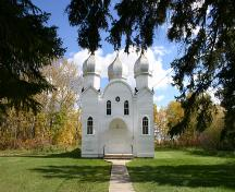 Primary elevation, from the west, of the Ukrainian Greek Orthodox Church of the Ascension, Angusville, 2007; Historic Resources Branch, Manitoba Culture, Heritage, Tourism and Sport, 2007