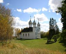 Contextual view, from the northwest, of the Ukrainian Greek Orthodox Church of the Ascension, Angusville, 2007; Historic Resources Branch, Manitoba Culture, Heritage, Tourism and Sport, 2007