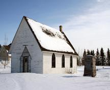 Primary elevations, from the northwest, of Arnaud United Church and Cemetery, Arnaud, 2007; Historic Resources Branch, Manitoba Culture, Heritage, Tourism and Sport, 2007