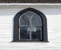 Dtail of a window of Arnaud United Church and Cemetery, Arnaud, 2007; Historic Resources Branch, Manitoba Culture, Heritage, Tourism and Sport, 2007