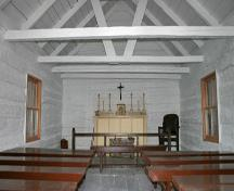 Interior view of the Charlebois Chapel, The Pas, 2007; Historic Resources Branch, Manitoba Culture, Heritage, Tourism and Sport, 2007