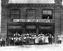 Historic view of the Inland Cigar Factory, 1895; City of Kamloops Museum and Archives, #8490