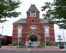 Fredericton City Hall, front view showing clock tower and fountain; City of Fredericton