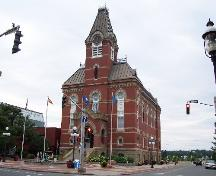 Fredericton City Hall, angle view from corner of Queen and York Streets; City of Fredericton