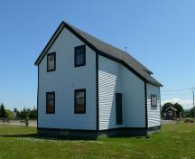 View of Bay Roberts Railway Station showing the enclosed porch, Bay Roberts, NL. Picture taken July 2009.; HFNL/Andrea O'Brien 2009
