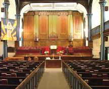 Wilmot United Church - interior view of chancel; Garth Caseley