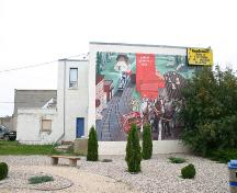 View of the large mural decorating the west wall of the Law Office Building, Swan River, 2007; Historic Resources Branch, Manitoba Culture, Heritage, Tourism and Sport, 2007