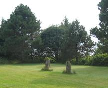 Overview of cemetery with two headstones; Province of PEI, 2009