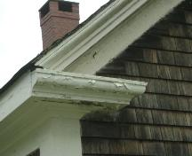 This photograph shows one of the large eave returns, 2007; Town of St. Andrews