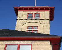 Tower detail of Fire Hall No. 8, Winnipeg, 2007; Historic Resources Branch, Manitoba Culture, Heritage, Tourism and Sport, 2007