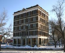 Primary elevation, from the northwest, of the Ukrainian Cultural Centre, Winnipeg, 2005; Historic Resources Branch, Manitoba Culture, Heritage, Tourism and Sport, 2005