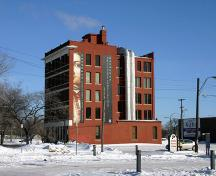 South elevation, from the southwest, of the Ukrainian Cultural Centre, Winnipeg, 2005; Historic Resources Branch, Manitoba Culture, Heritage, Tourism and Sport, 2005