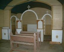 Interior view of Ukrainian Catholic Parish of Holy Eucharist (Kulikiw), featuring altar, 2008.; Winkel, 2008.
