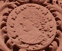 Detail of cameo of Queen Victoria above entrance; Province of PEI, Brian Simpson, 2007