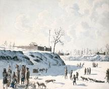 Watercolour showing a fort at the confluence of the Red and Assiniboine Rivers, the possible location of Fort Rouge, 1821.; Library and Archives Canada / Bibliothèque et Archives Canada, C-001932, 1821.