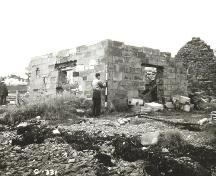 Historical image of LeNoir Forge, Arichat, surving the remains of the building, 1963.; Parks Canada, Fortress of Louisbourg, National Historic Site of Canada, photographer unknown, 1963.