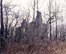 General view of the ruin of Glengarry House, showing the fieldstone gable walls, 1996.; Parks Canada Agency / Agence Parcs Canada, Dennis Carter-Edwards, 1996.