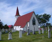 View of the right and rear facades of St. John the Evangelist Anglican Church, Topsail, Conception Bay South, NL. Photo taken 2009. ; HFNL/Andrea O'Brien 2009