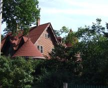 Roofline, showing turrets, The Old Place, Canning, NS.; Heritage Division, NS Dept. of Tourism, Culture and Heritage, 2009.