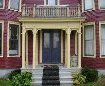 This photograph shows the detailed portico of the residence, 2008; Town of St. Andrews