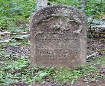 Front of last remaining standing headstone; Carter Jeffery, 2009