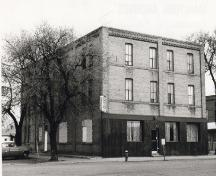 Archival view, from the southeast, of the Nelson Hotel, Carberry, ca. 1960; Carberry Plains Archives, ca. 1960