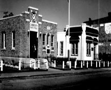 Archival view showing Manitoba Telephone System Building (right), Carberry, ca. 1960; Carberry Plains Archives, ca, 1960