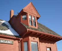 Detail view of the dormer and roofline of the former Miami Northern Pacific and Manitoba Railway Station, Miami, 2009; Historic Resources Branch, Manitoba Culture, Heritage, Tourism and Sport, 2009