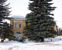 View of main elevation of Darlingford Consolidated School, Darlingford, 2005; Historic Resources Branch, Manitoba Culture, Heritage, Tourism and Sport, 2005