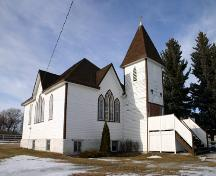 Primary elevations, from the southeast, of Cromer United Church, Cromer, 2006; Historic Resources Branch, Manitoba Culture, Heritage, Tourism and Sport, 2005
