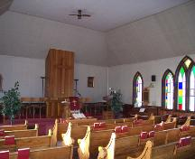 Interior view of the sanctuary of Cromer United Church, Cromer, 2006; Historic Resources Branch, Manitoba Culture,Heritage, Tourism and Sport, 2005