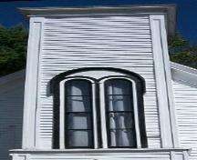 Milford United Baptist Church, Milford, NS, Romanesque style window, 2009.; Heritage Division, NS Dept. of Tourism, Culture and Heritage, 2009