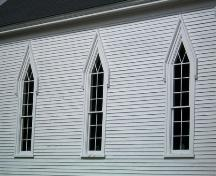 Albany Community Church, Albany Cross, N.S., Gothic Revival windows with pointed arches, 2009.; Heritage Division, NS Dept. of Tourism, Culture and Heritage, 2009