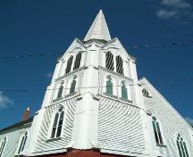 Emmanuel United Church, Granville Ferry, N.S., tower and spire with paired arched windows, 2009.; Heritage Division, NS Dept. of Tourism, Culture and Heritage, 2009