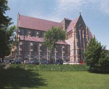 Exterior photo of the Anglican Cathedral, St. John's, NL, showing the south facade and transept, circa 2004.; HFNL/Dale Jarvis 2006