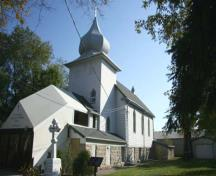 Primary elevations, from the southwest, of St. Michael's Ukrainian Orthodox Church, Winnipeg, 2009; Historic Resources Branch, Manitoba Culture, Heritage and Tourism, 2009
