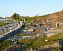 View of ongoing excavations in The Pool, site of Colony of Avalon Special Preservation Area, Ferryland, NL. Photo taken 2009. ; HFNL/Andrea O'Brien 2009