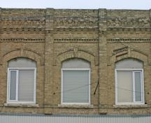 Detail view of walls and roofline of the Modern Bakery, Carberry, 2008; Historic Resources Branch, Manitoba Culture, Heritage and Tourism, 2008