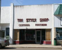 Primary elevation, from the east, of The Style Shop, Carberry, 2008; Historic Resources Branch, Manitoba Culture, Heritage and Tourism, 2008