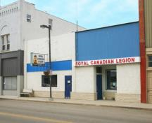 Primary elevation, from the northeast, of the Royal Canadian Legion, Carberry, 2008; Historic Resources Branch, Manitoba Culture, Heritage and Tourism, 2008