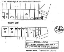 Featured is a plan outlining the boundaries of the district.; Town of Goderich, 1993.