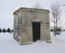 View of the front of the Larson Mausoleum, 2004.; Government of Saskatchewan, James Winkel, 2004
