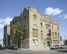Primary elevations, from the southwest, of the Salvation Army Citadel, Winnipeg, 2006; Historic Resources Branch, Manitoba Culture, Heritage and Tourism, 2006